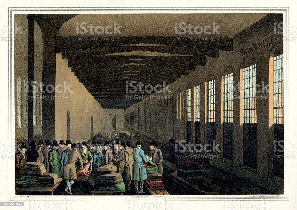 Costumes of Yorkshire - The Cloth Hall vector art illustration