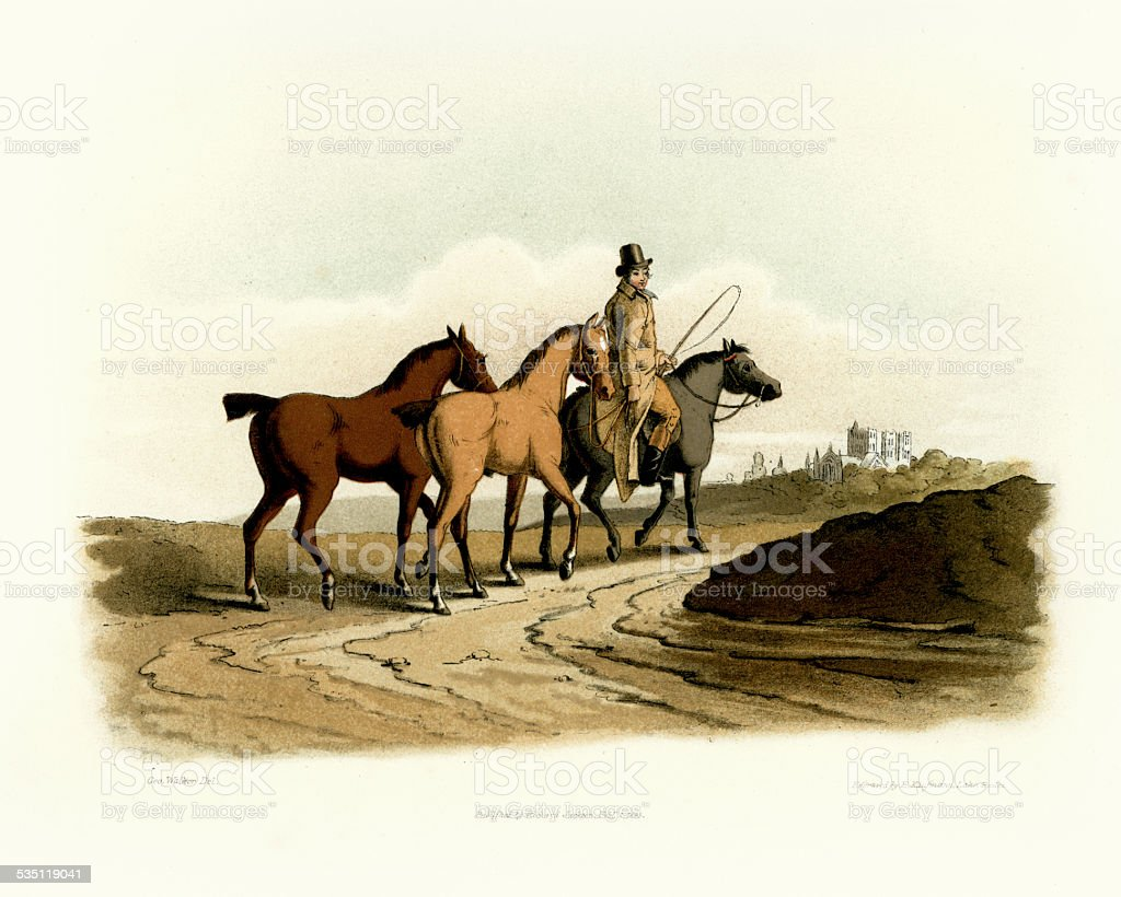 Costumes of Yorkshire - The Horse Dealer vector art illustration