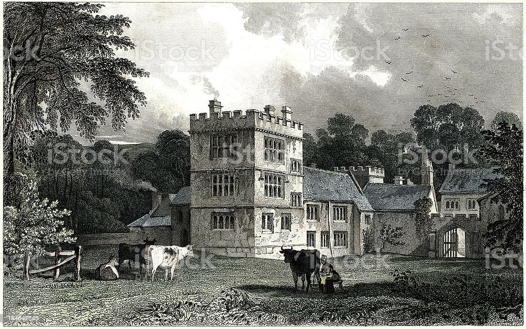 Cotehele House, Cornwall, England 1830 (Engraved illustration) royalty-free stock vector art