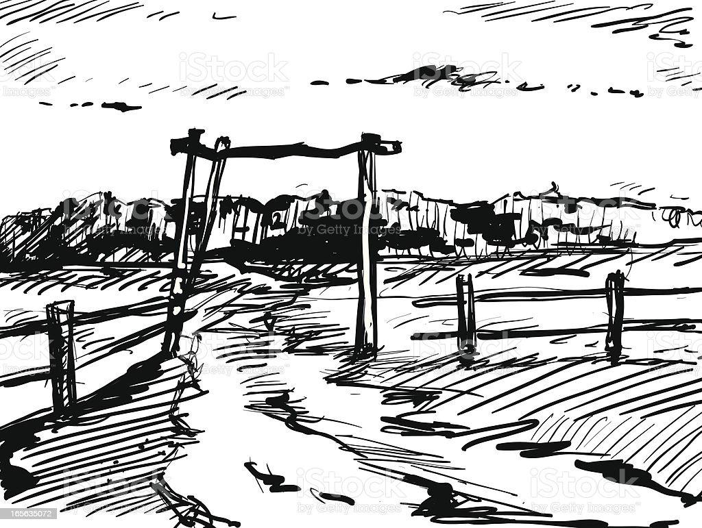 Cottage gate vector art illustration