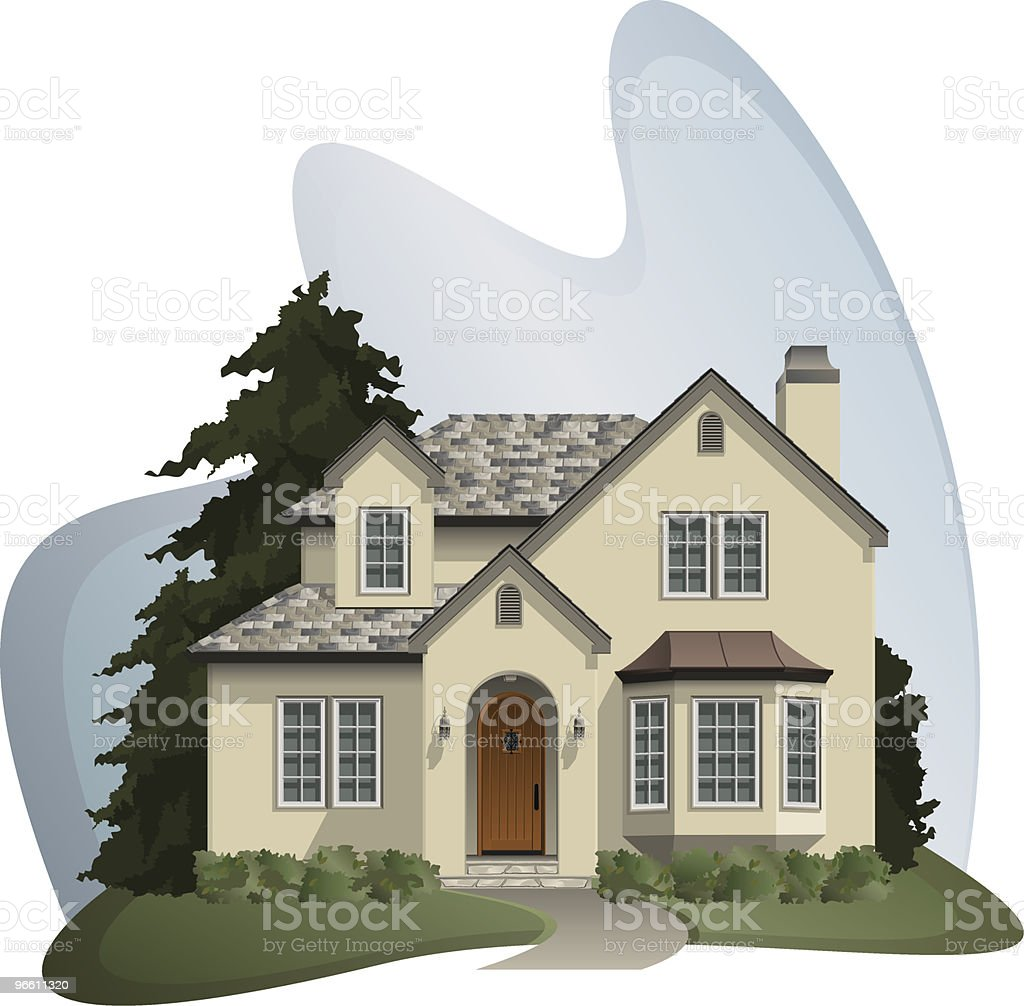 cottage (detailed) royalty-free stock vector art