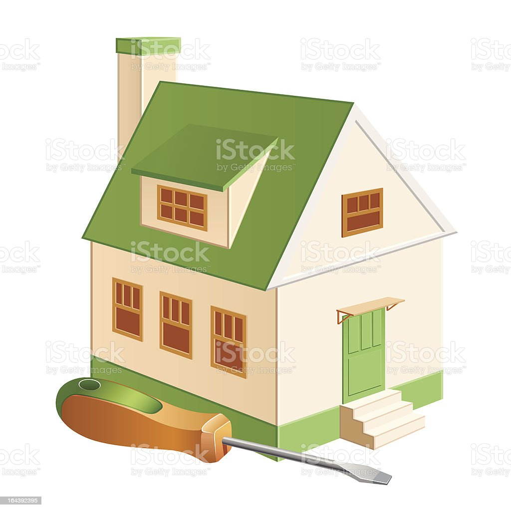 cottage repair green royalty-free stock vector art