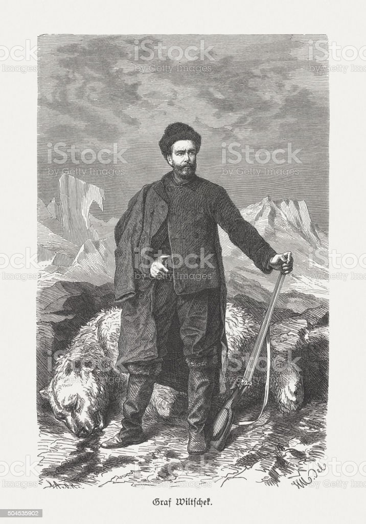 Count Johann Nepomuk Wilczek (1837-1922), wood engraving, published in 1883 vector art illustration
