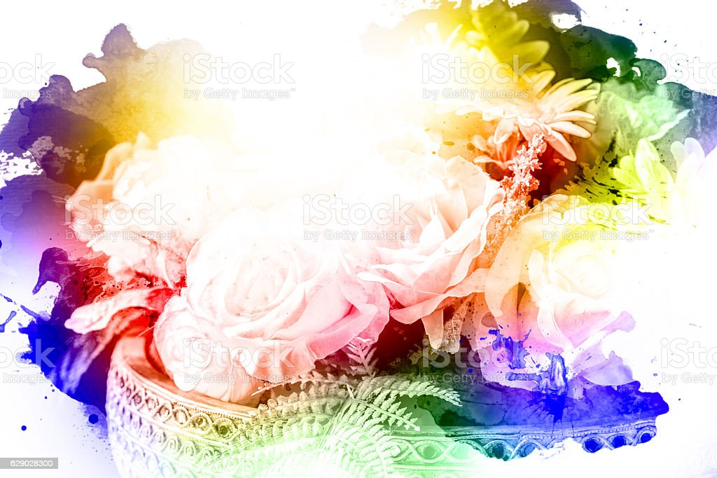 counterfeit Flower made by color filter, abstract, tinted vector art illustration