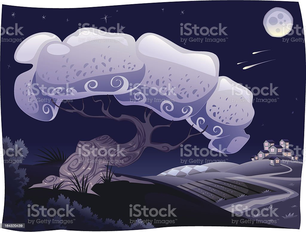 Countryside in the night. royalty-free stock vector art