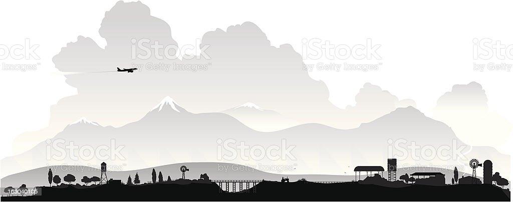 countryside silhouette vector art illustration