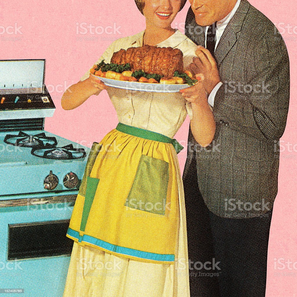 Couple Admiring Roast royalty-free stock vector art