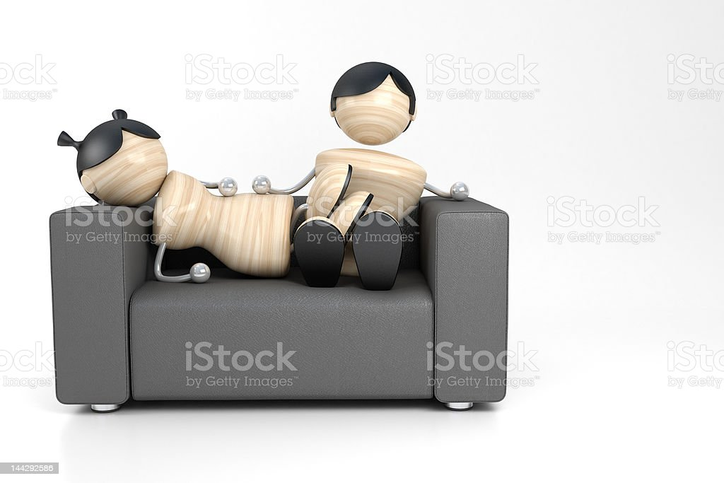 couple and sofa vector art illustration