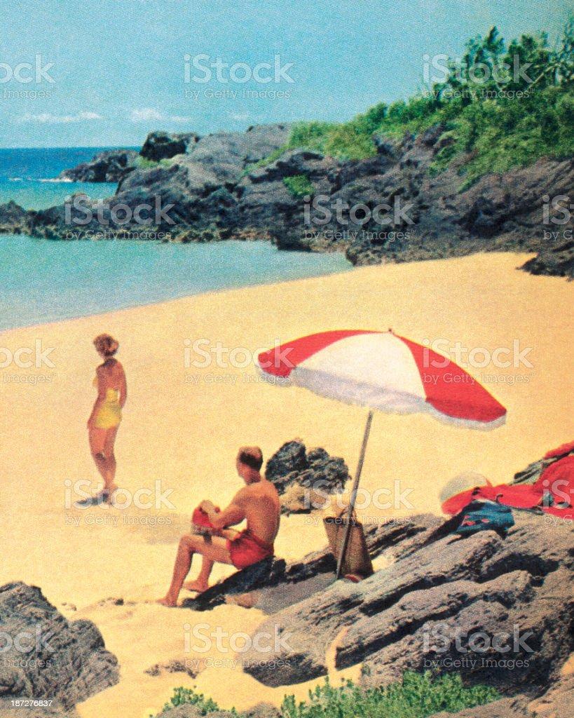 Couple at the Beach vector art illustration