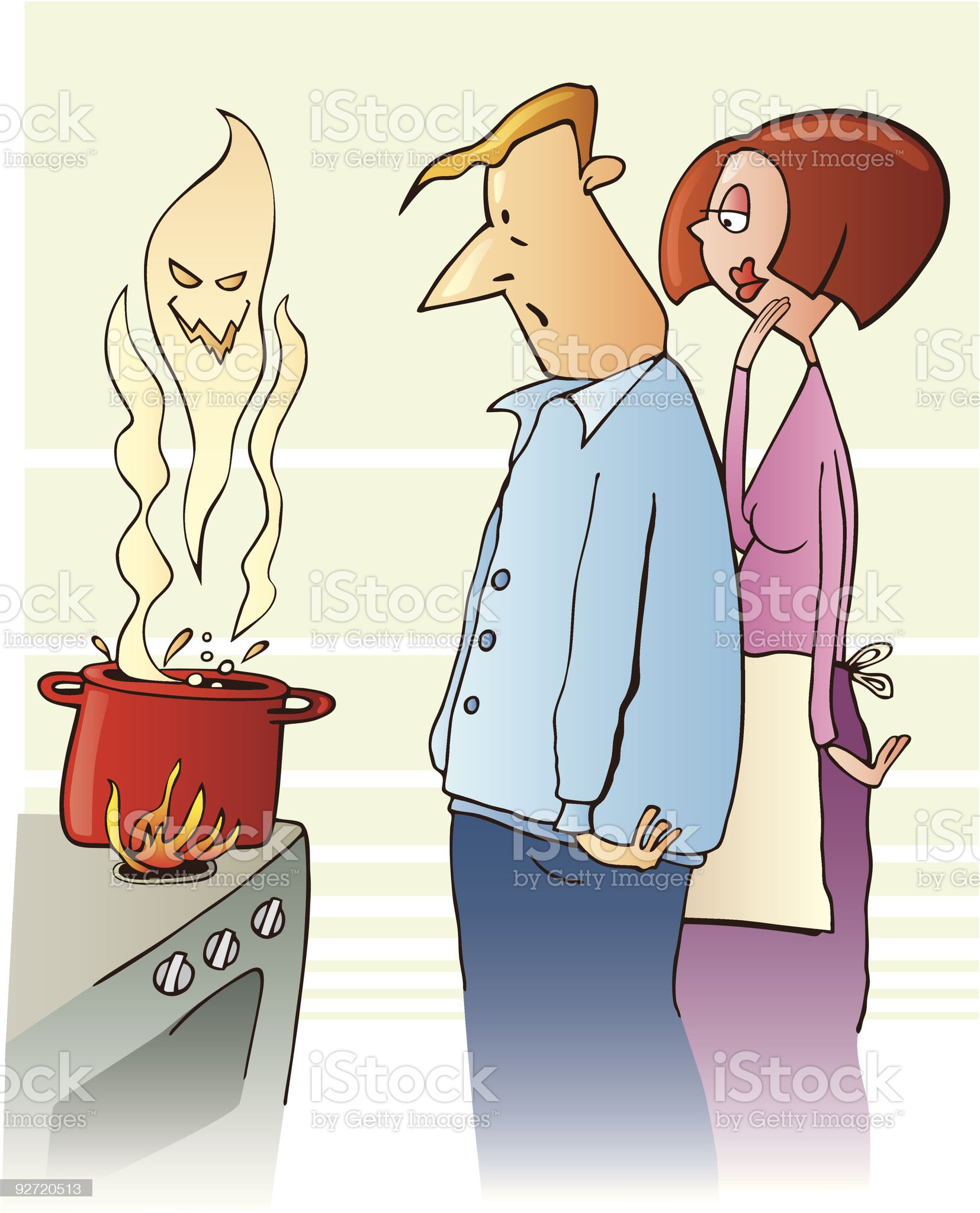 Couple cooking toxic soup royalty-free stock vector art