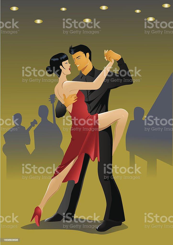 Couple doing the tango dance royalty-free stock vector art