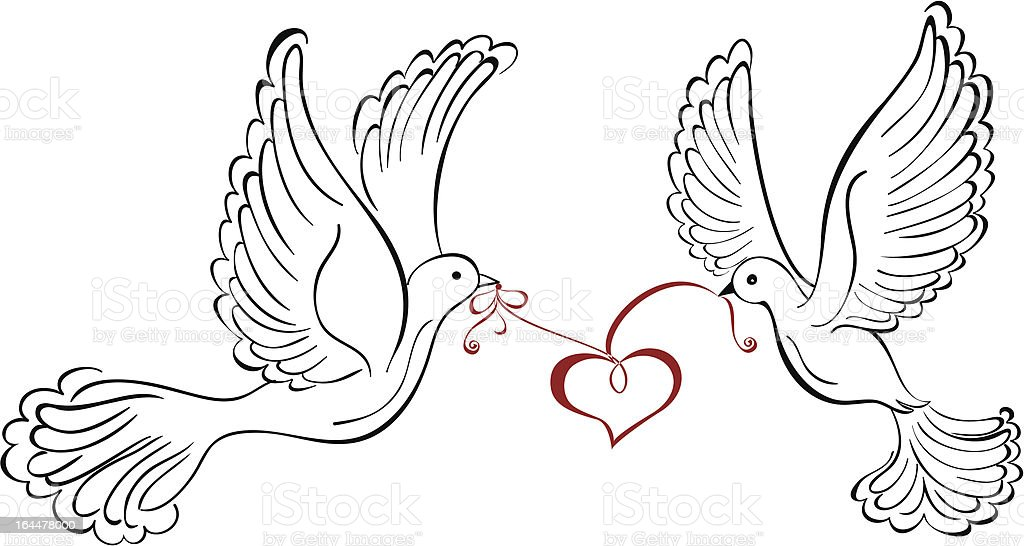 Couple dove with heart shaped royalty-free stock vector art