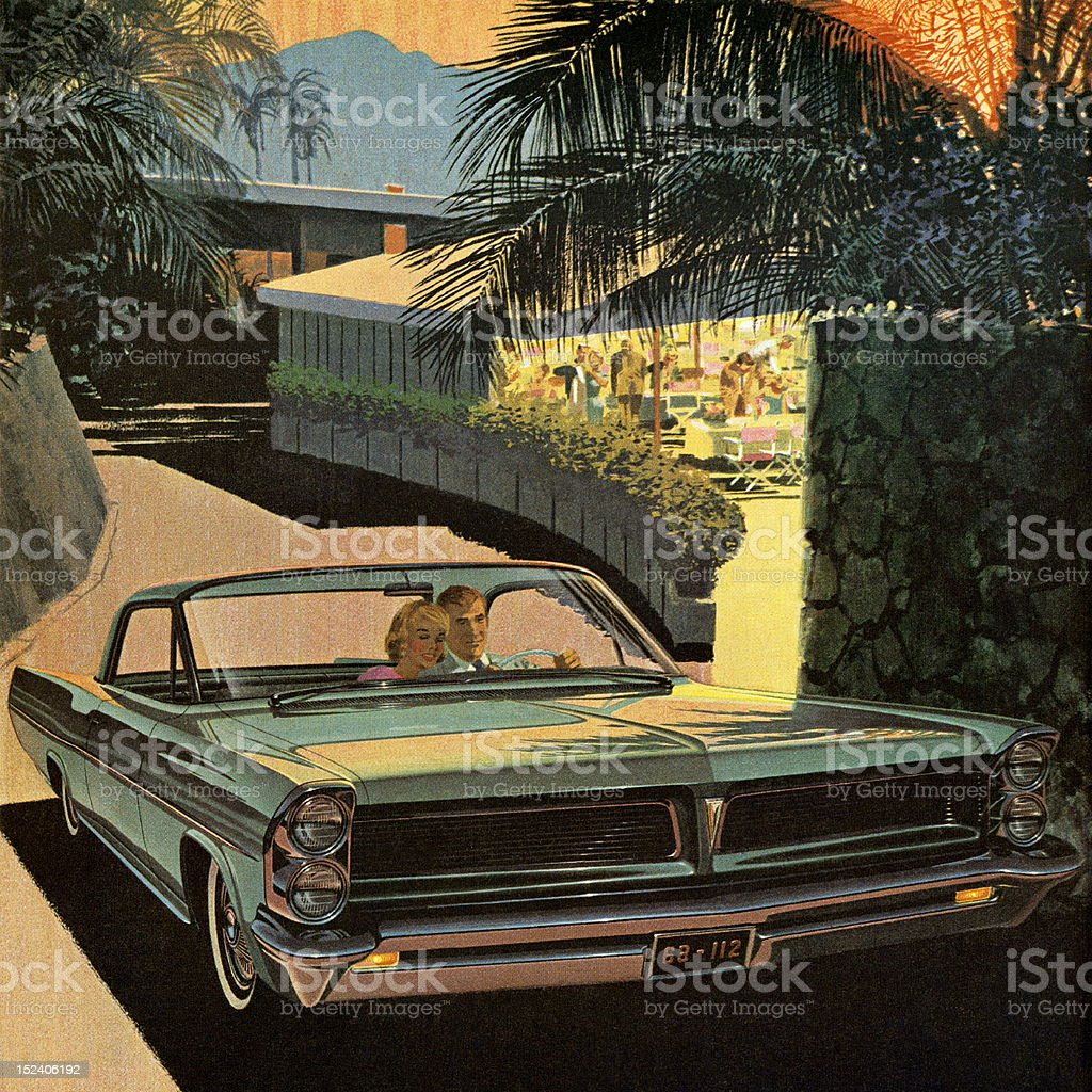 Couple Driving Vintage Turquoise Car royalty-free stock vector art