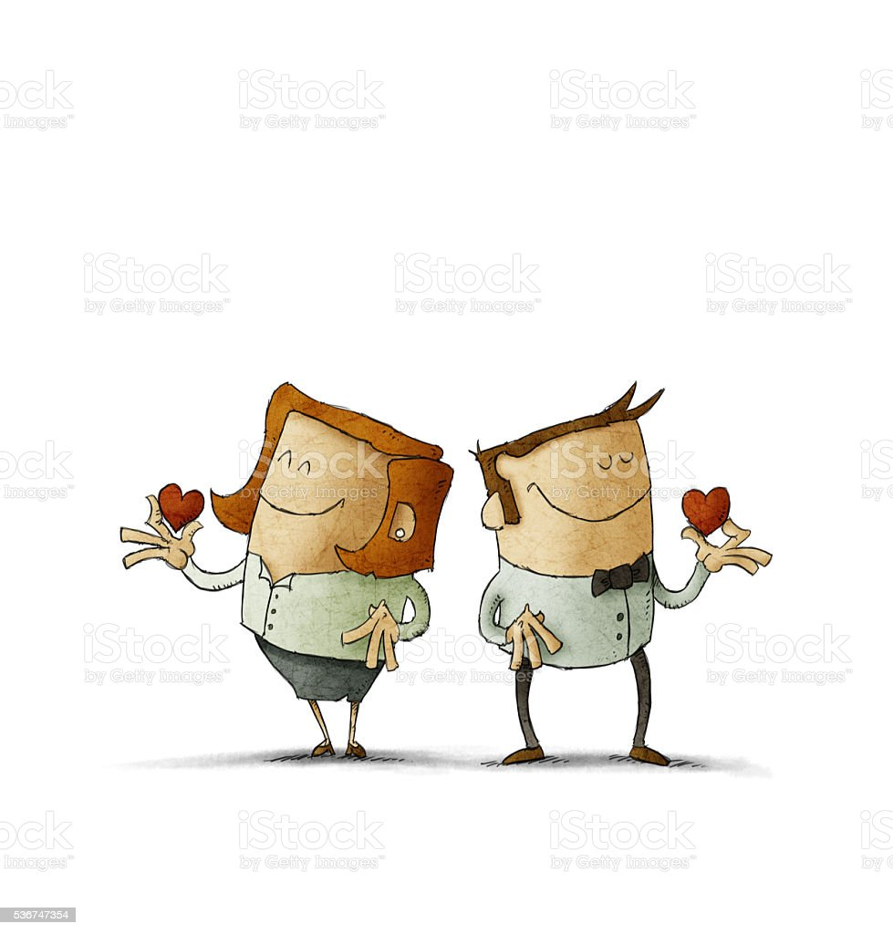Couple holding red hearts vector art illustration