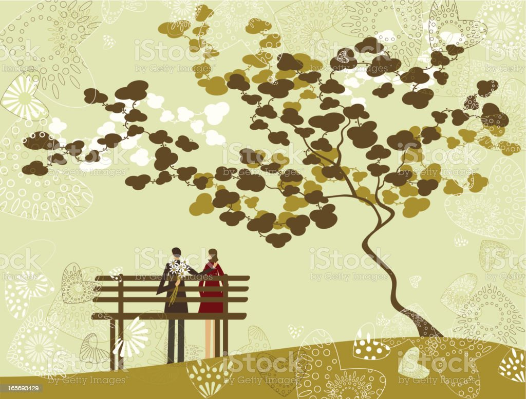 Couple in a park royalty-free stock vector art