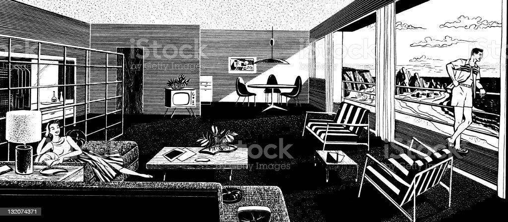couple in Mid-century House vector art illustration