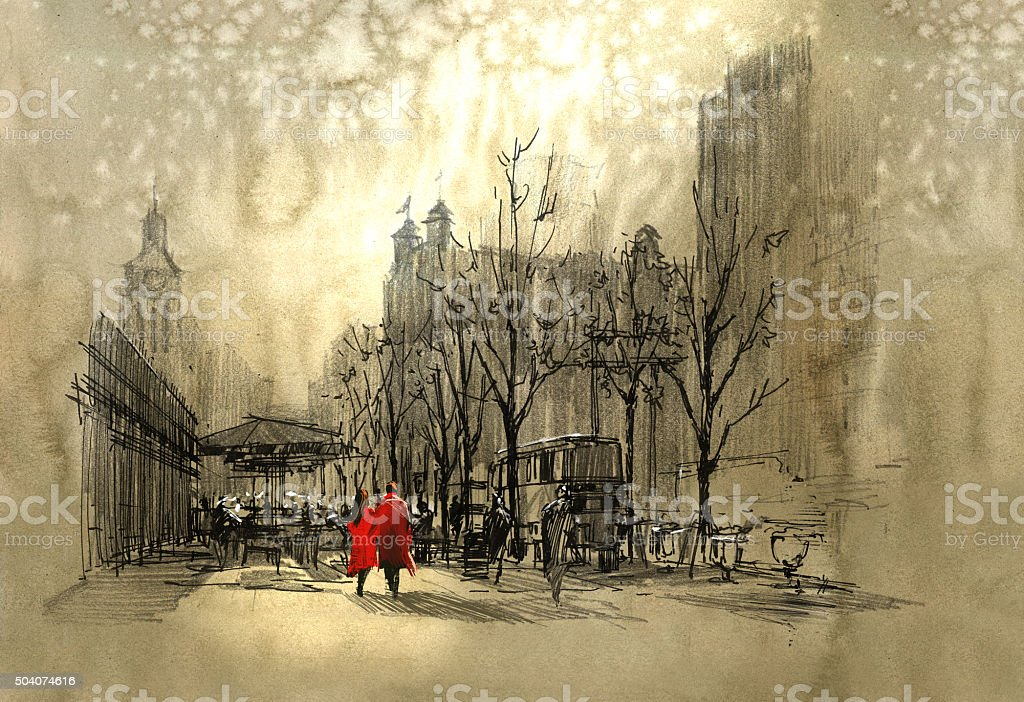 couple in red walking on street of city vector art illustration