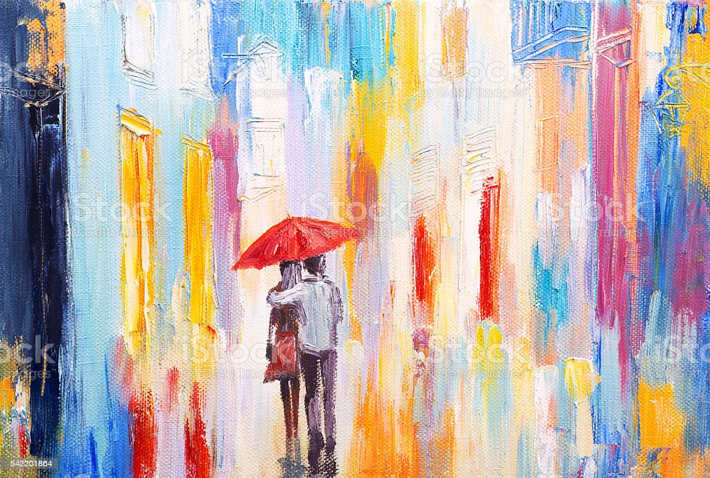 couple is walking in the rain under an umbrella, abstract vector art illustration