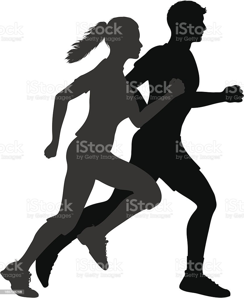 Couple jogging vector art illustration