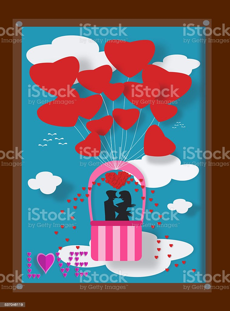 Paar Liebe Auf Luftballons In Bilderrahmen Vektor Illustration ...