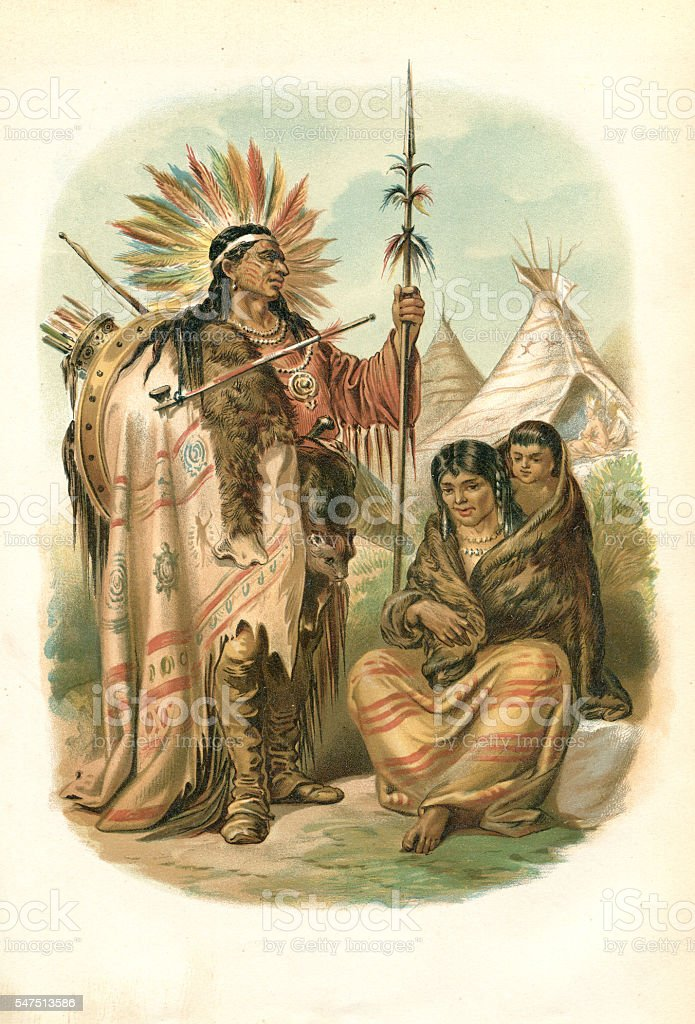 Couple of native American Ethnicity plains Indians 1880 vector art illustration