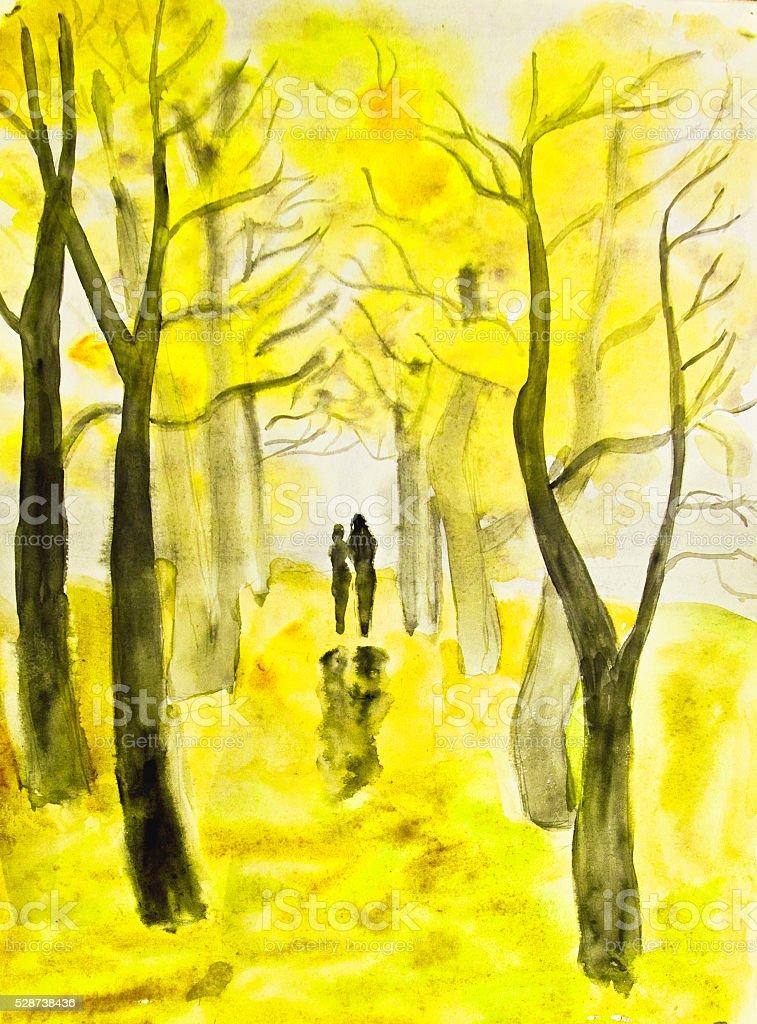 Couple on autumn alley, painting vector art illustration