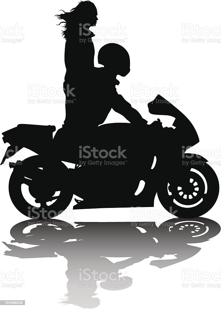 Couple on sports motorcycle royalty-free stock vector art