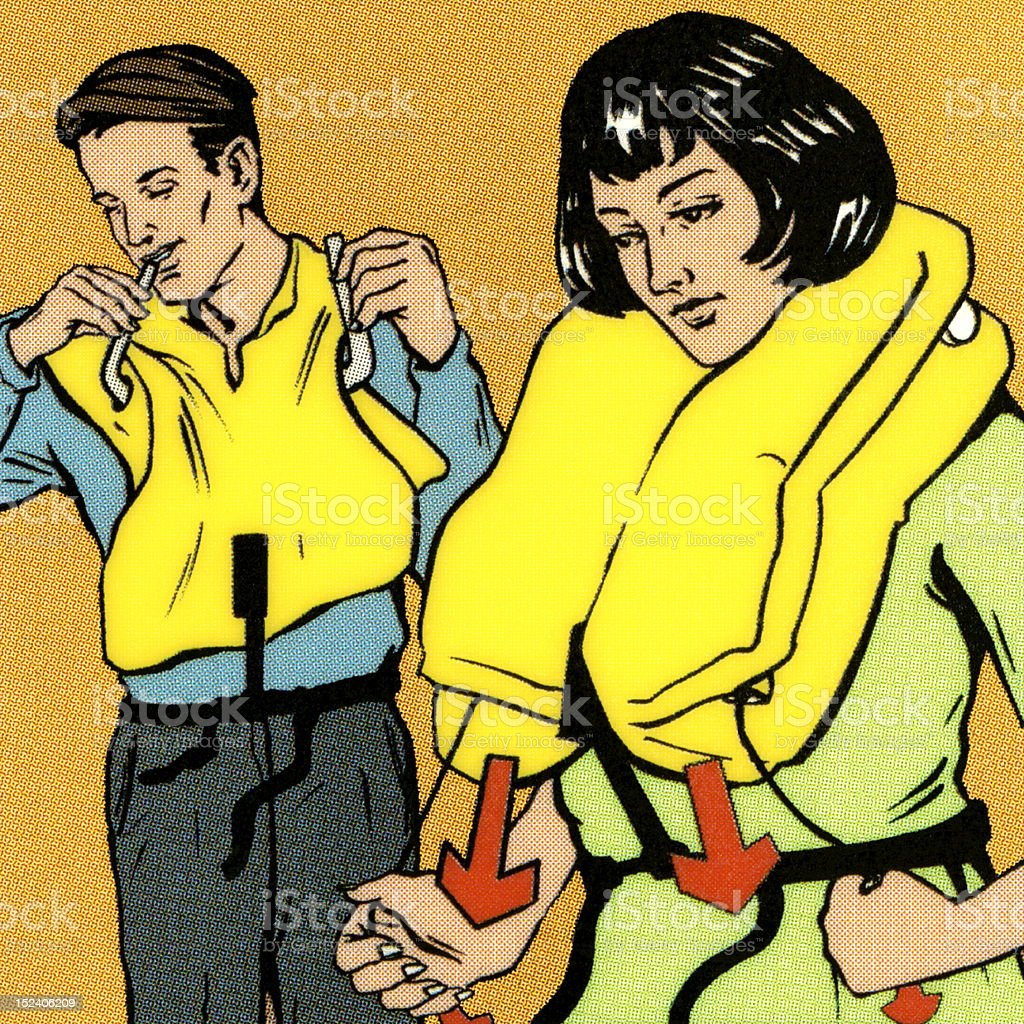 Couple Putting on Life Vest royalty-free stock vector art
