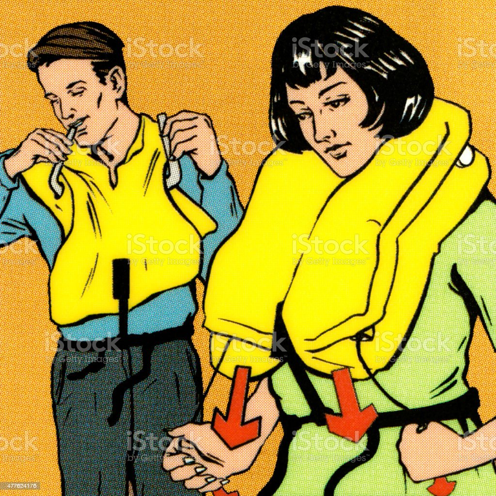 Couple Putting on Life Vest vector art illustration