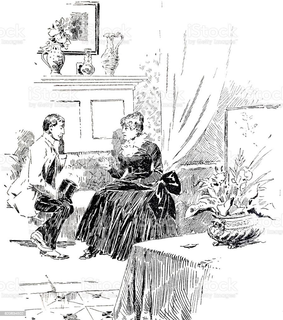 Couple sitting on sofa in living room, talking vector art illustration