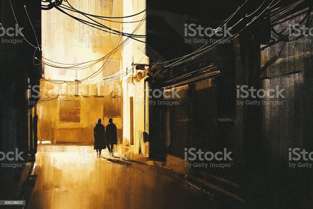 couple walking in alley at night vector art illustration