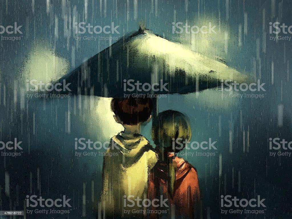 Couple walking in rainy vector art illustration