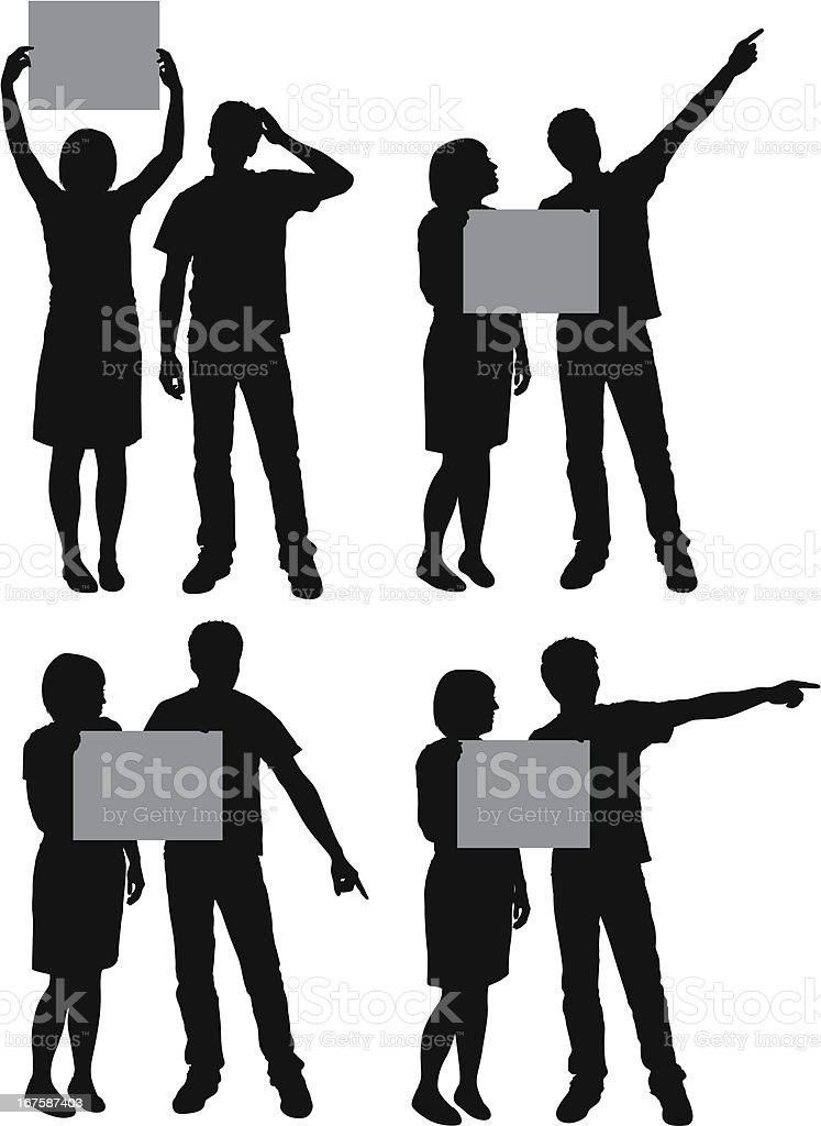 Couple with placards royalty-free stock vector art