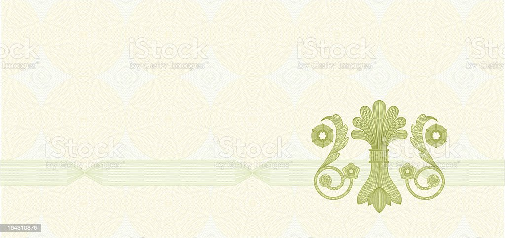 Coupon Template with complex guilloche patterns royalty-free stock vector art