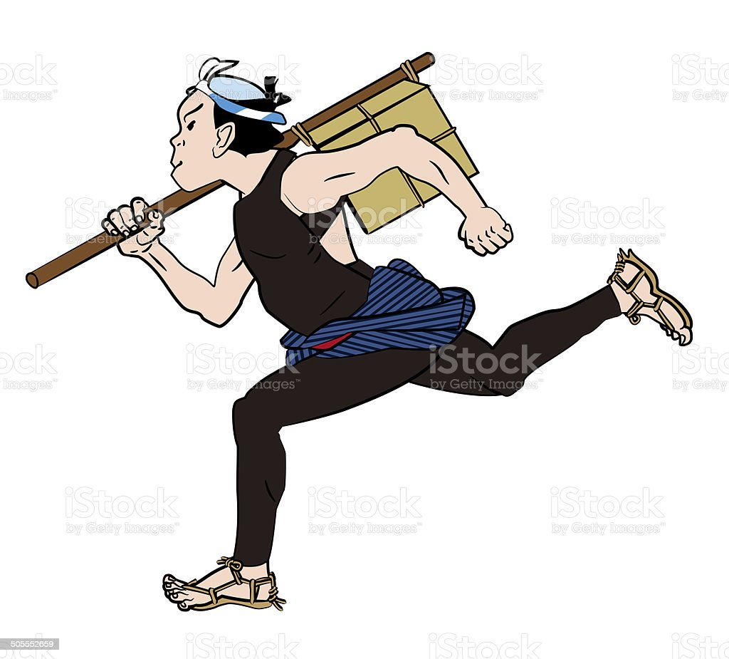 Courier. Delivery person. Japanese old. Townspeople. vector art illustration