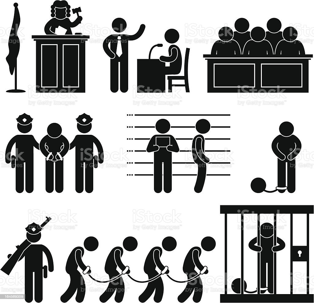 Court and Criminal Pictogram vector art illustration
