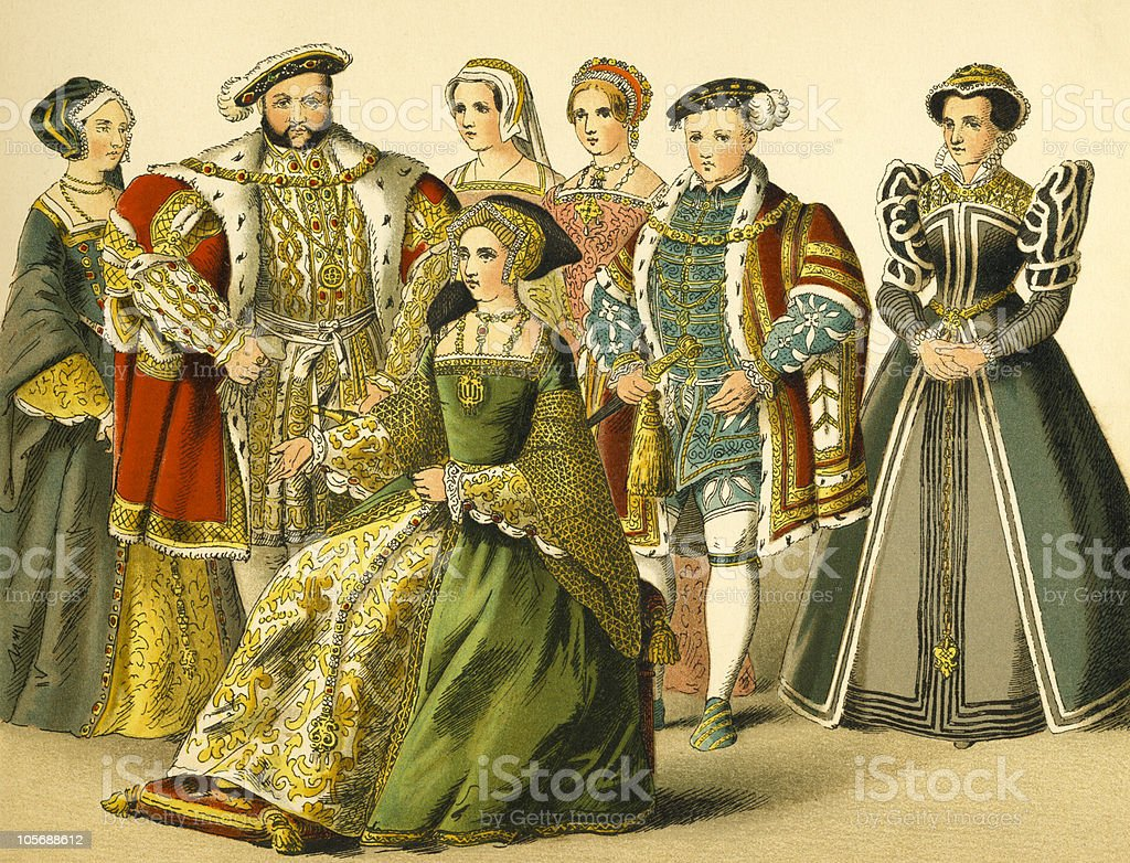 Court of King Henry VIII vector art illustration