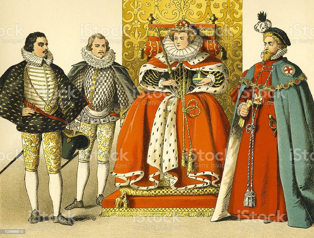 Court of Queen Elizabeth royalty-free stock vector art