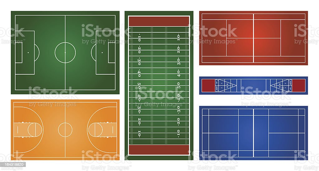 Courts & Fields royalty-free stock vector art