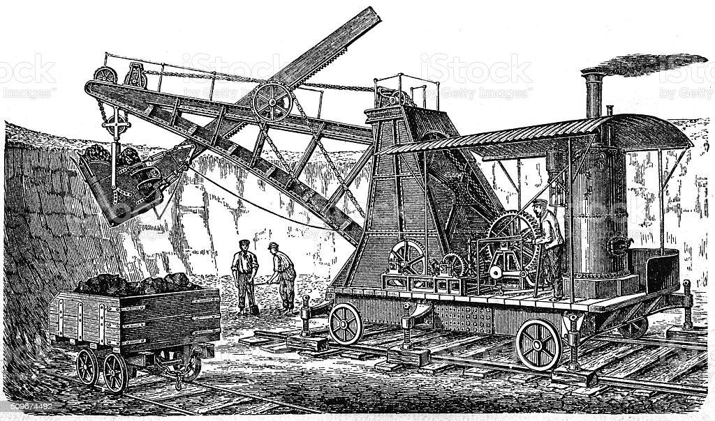 Couvreux's excavator vector art illustration