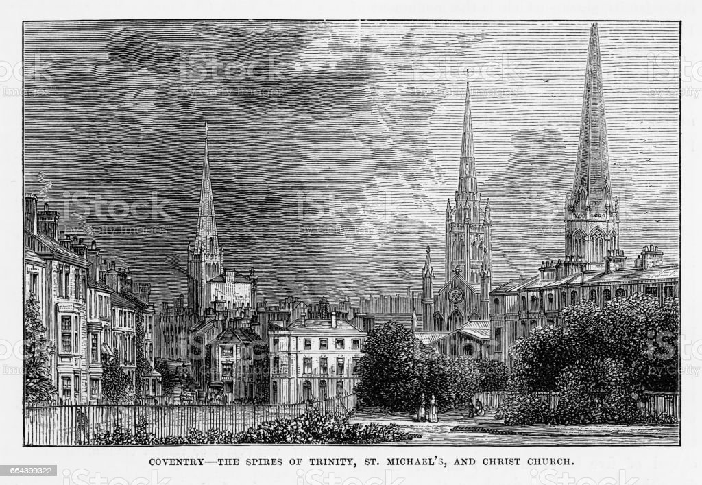 Coventry, Litchfield, Warwickshire, England Victorian Engraving, 1840 vector art illustration