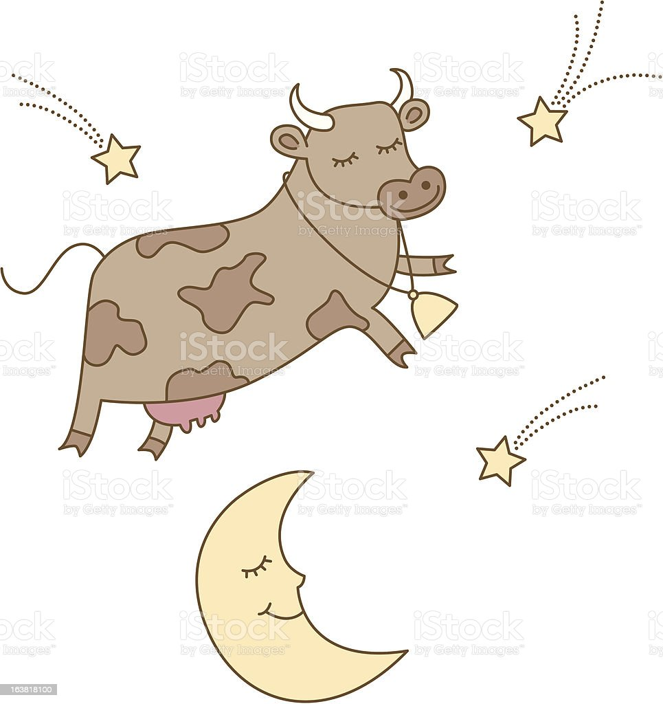 Cow jumped over the moon royalty-free stock vector art