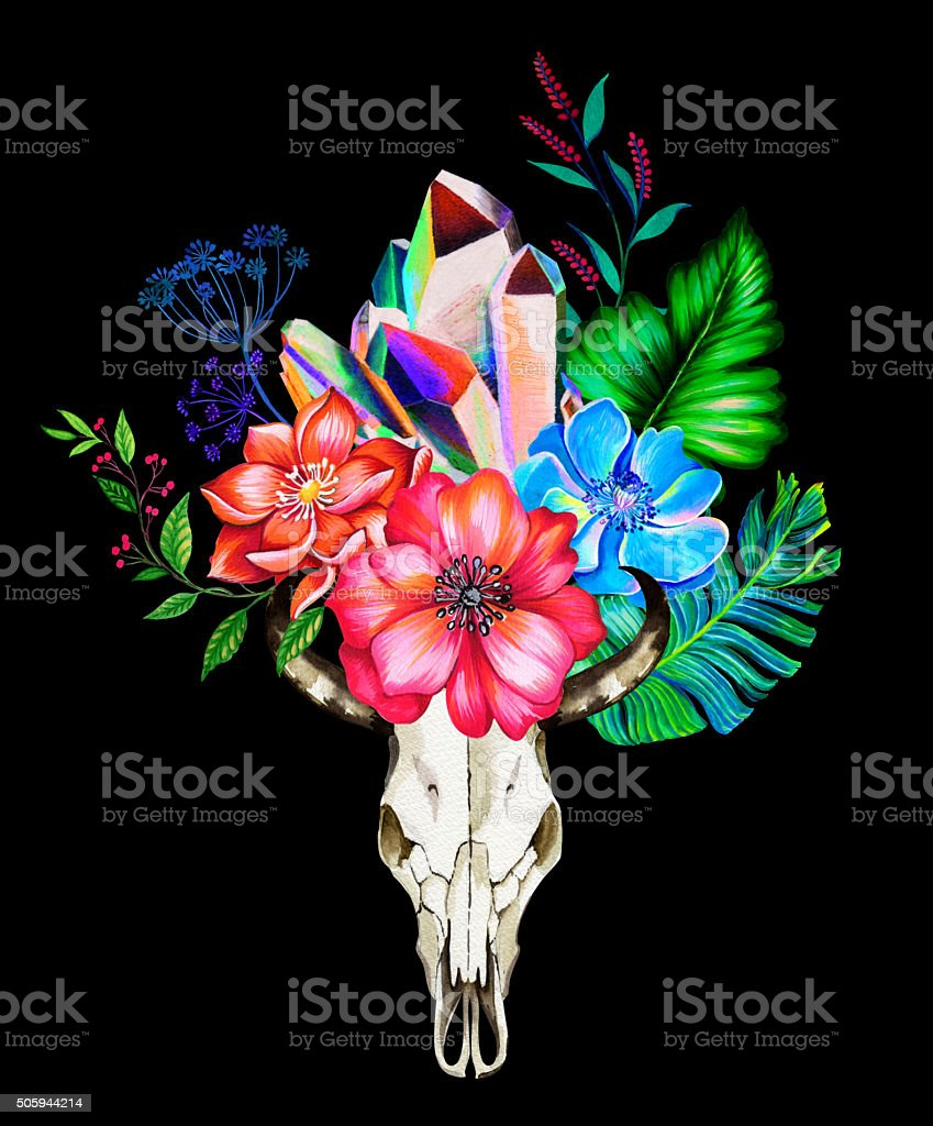 cow scull with flowers and embellishments. vector art illustration