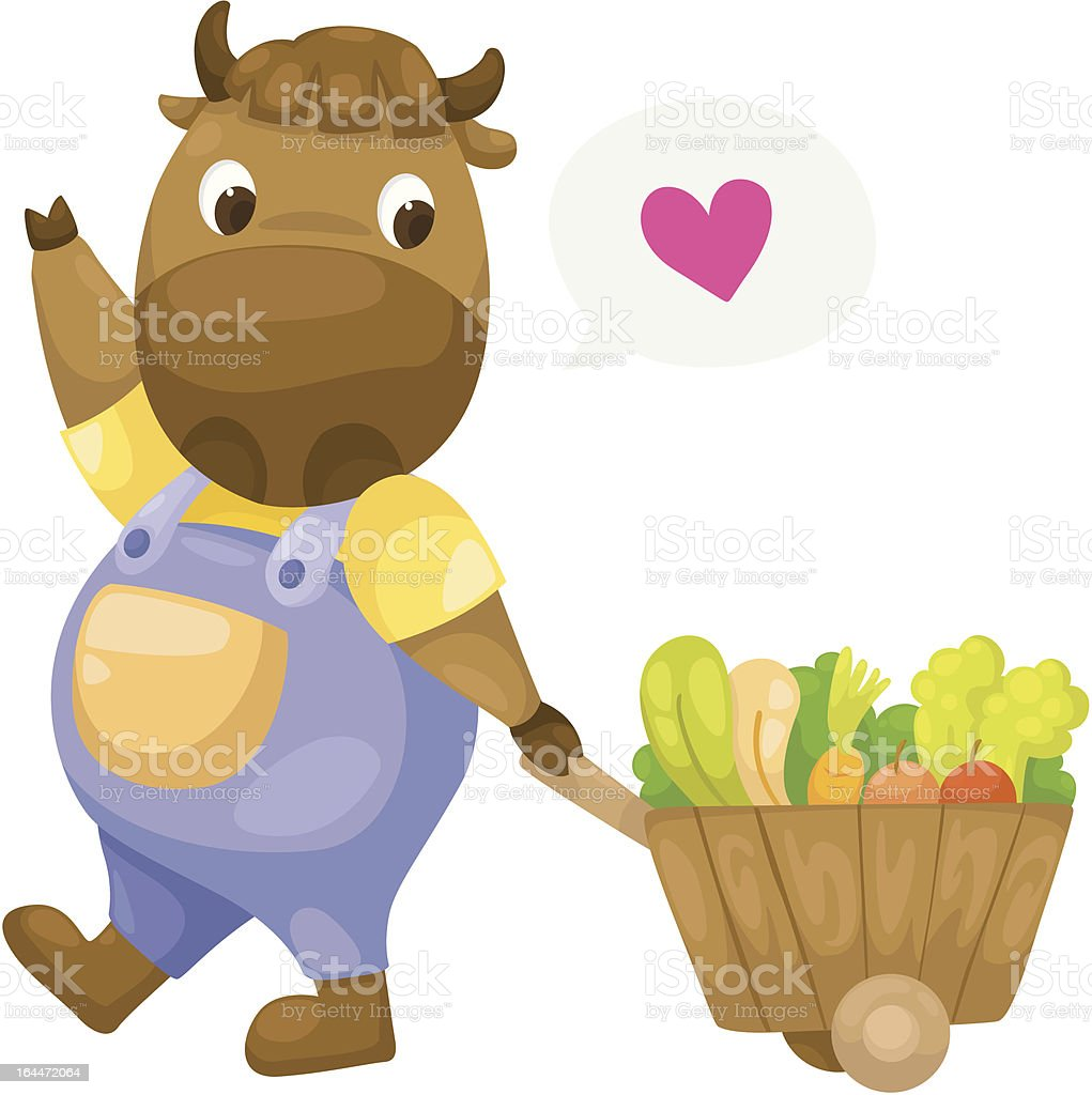 cow with wooden cart vector vector art illustration