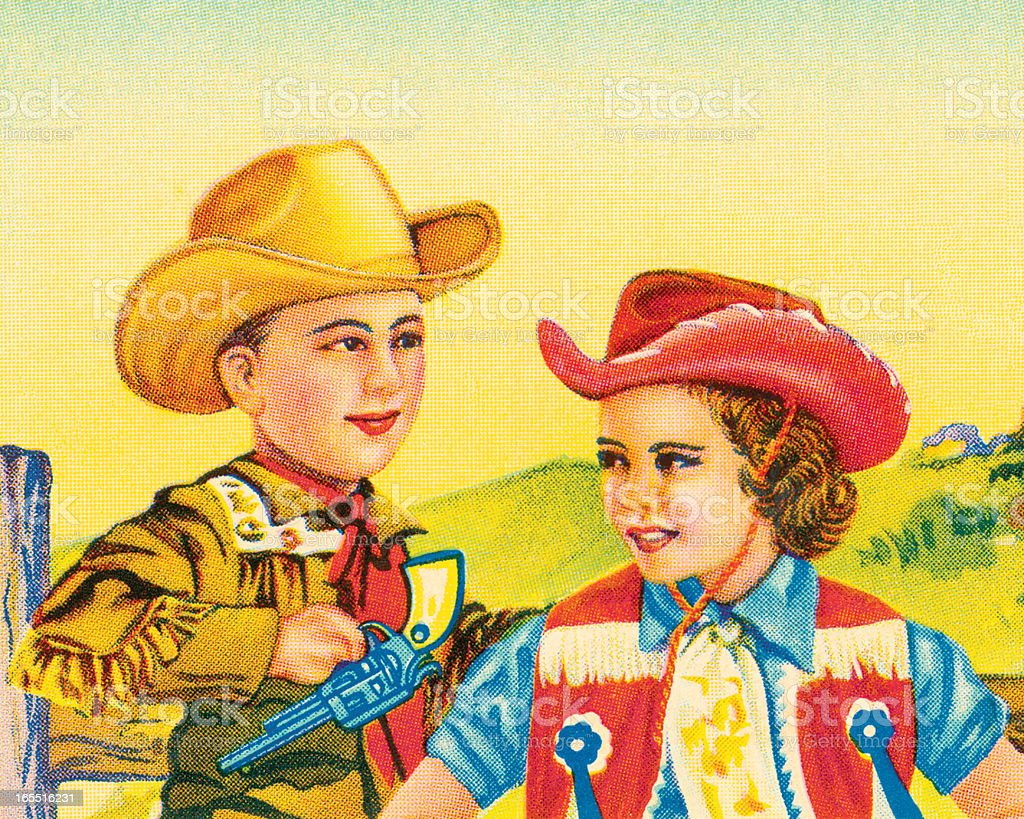 Cowboy and Cowgirl royalty-free stock vector art