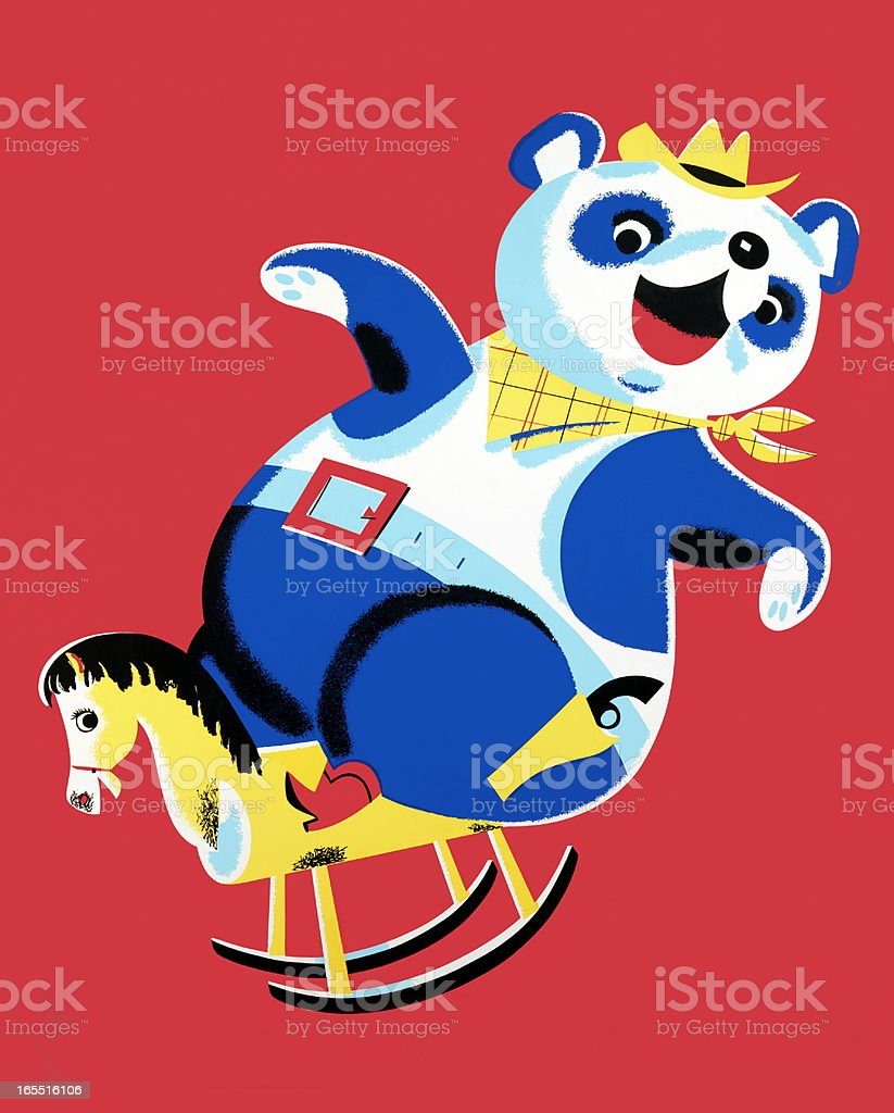 Cowboy Bear Riding a Rocking Horse vector art illustration