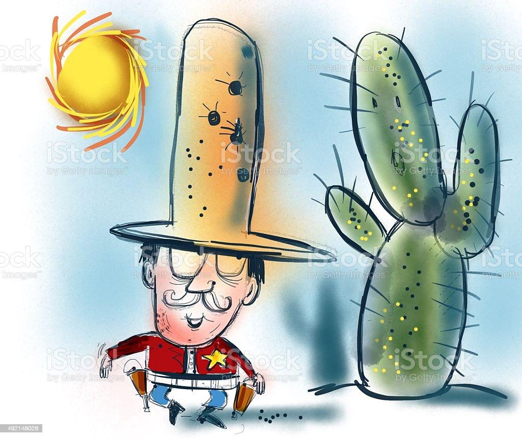 Cowboy cartoon with cactus and sun. vector art illustration