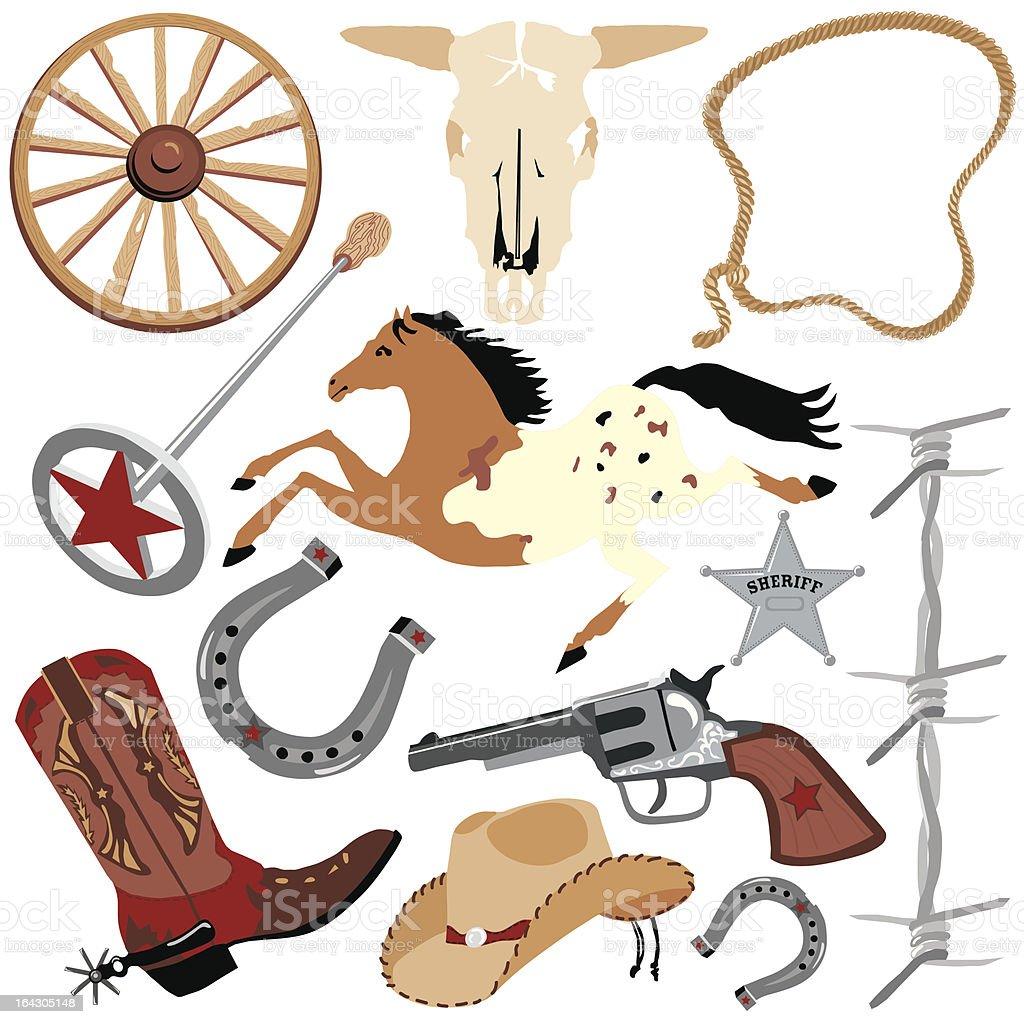 Cowboy elements vector art illustration