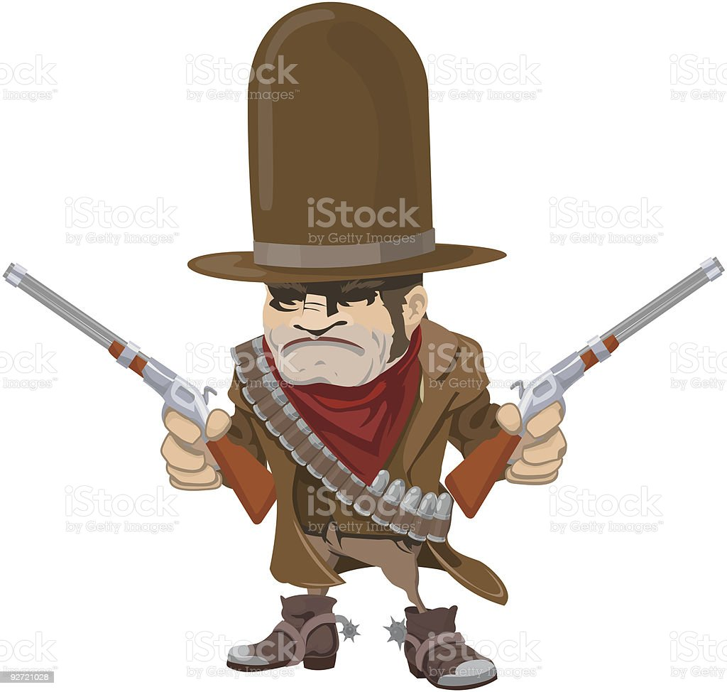 Cowboy gunman with rifles royalty-free stock vector art