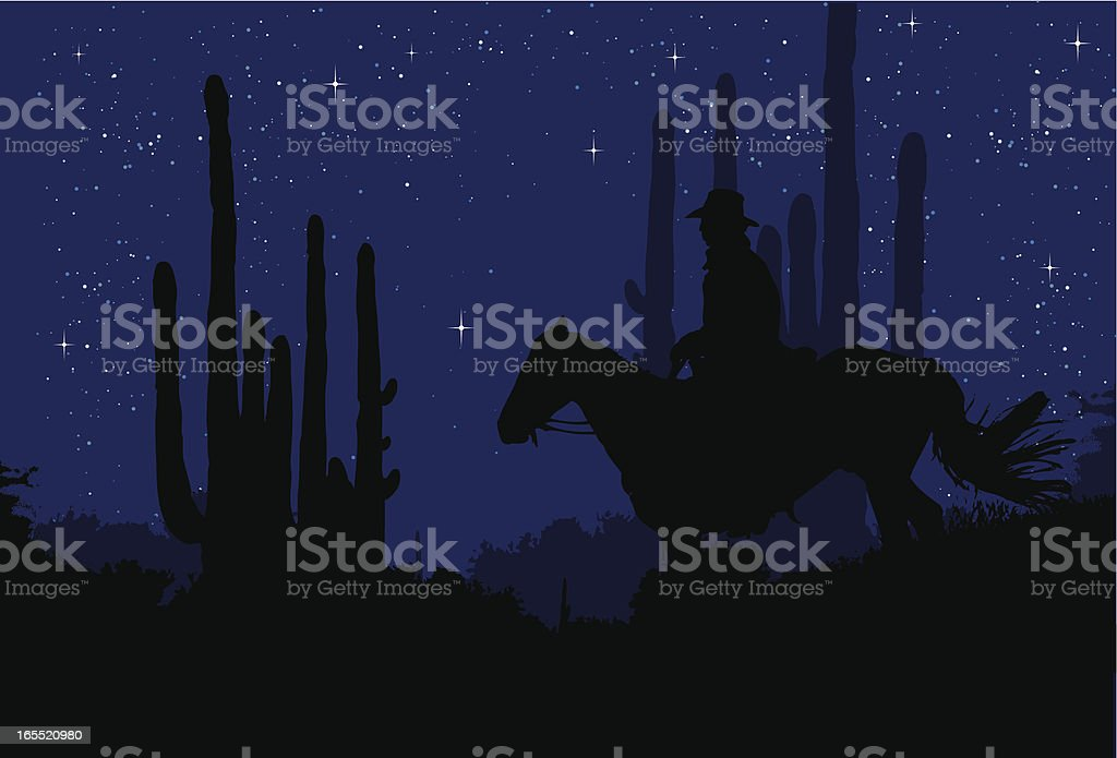 Cowboy in the night vector art illustration